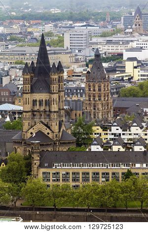 Cologne, Germany - May 17: This is Church of St. Martin and the historic City Hall in Cologne from the tower Panorama-Turm May 17, 2013 in Cologne, Germany.