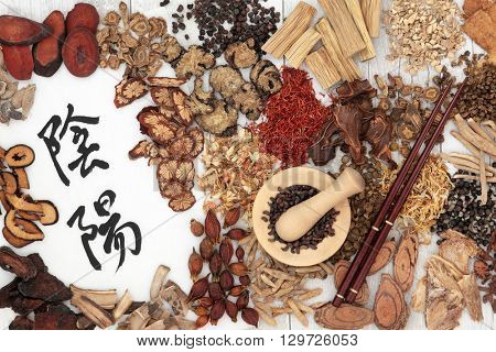 Chinese herbal medicine ingredients used in traditional herbal medicine with yin and yang mandarin calligraphy symbols on rice paper.