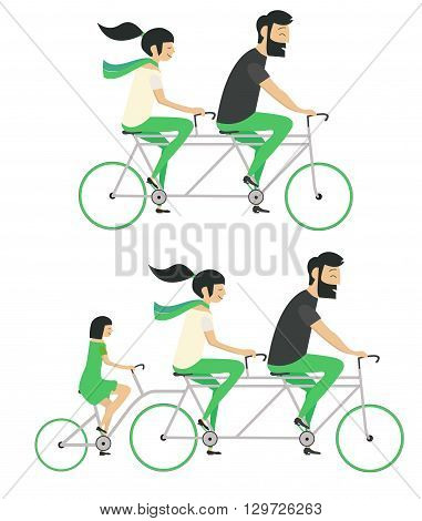 Set young couple with child riding bicycle Hipster style