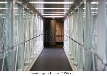 Tunnel With Glass Walls And Lights