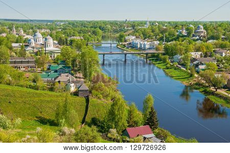 Top view of the ancient Russian city of Torzhok