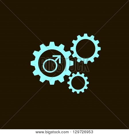 Flat icon of gears and vector outlines icons of gender male symbols isolated on black background. Man sign.