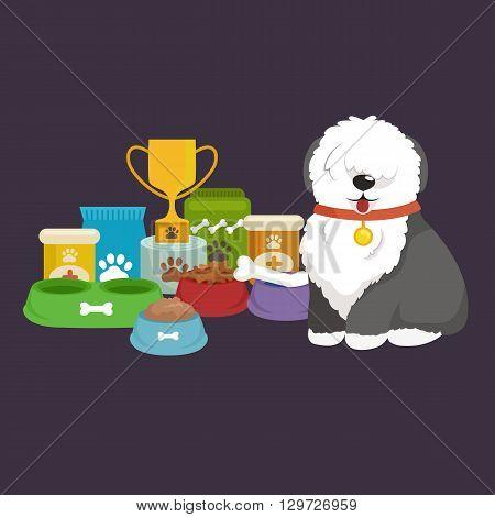 cartoon illustration, Old English Sheepdog with food bowl, eating dog vector illustration