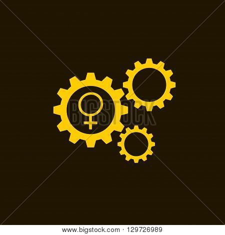 Flat icon of gears and vector outlines icons of gold gender female symbols isolated on black background. Woman sign.