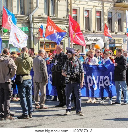 St. Petersburg, Russia - 1 May, Photographer on May Day, 1 May, 2016. Day festive demonstration on the Nevsky Prospect in St. Petersburg, the first of May.