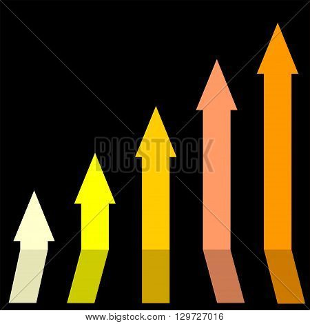 Gold color of graph rising up indicating positive vibes and direction in business aspects.Growing bars graphic icon