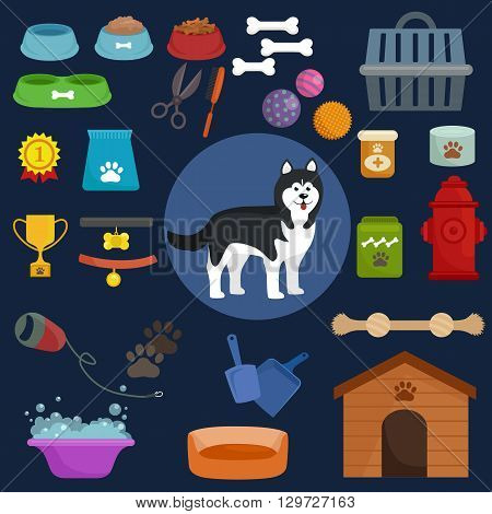 Dog icons flat set with kennel leash food bowl isolated vector illustration