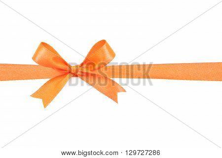 Orange satin gift bow ribbon isolated on white
