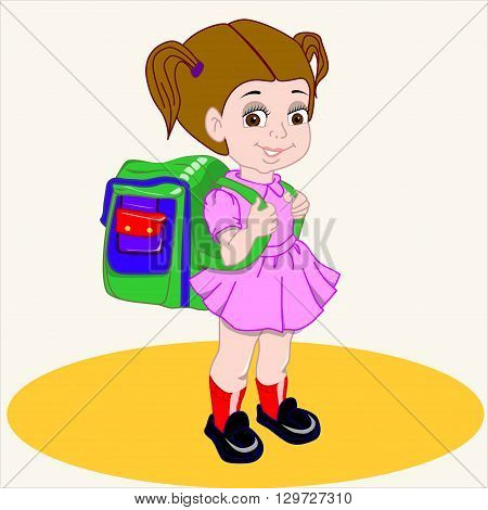 Cartoon vector Illustration. Cute brown-haired girl with a satchel and his arm walking to school.