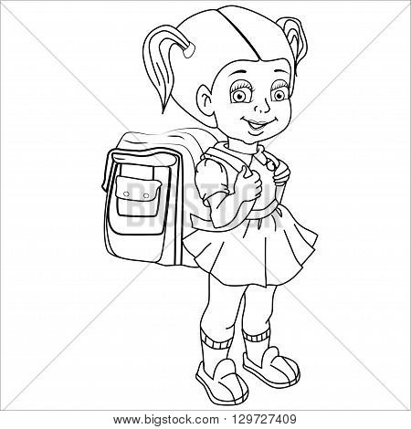 Cartoon vector Illustration. Cute brown-haired girl with a satchel and his arm walking to school. Isolated. Black.