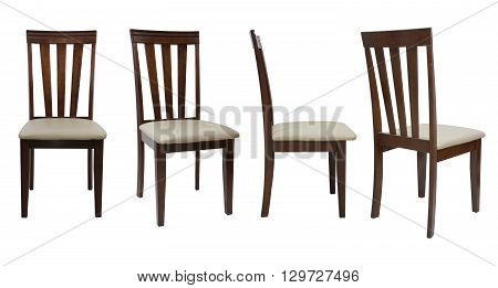 4 Angle Wooden Chair  Isolated On White Background