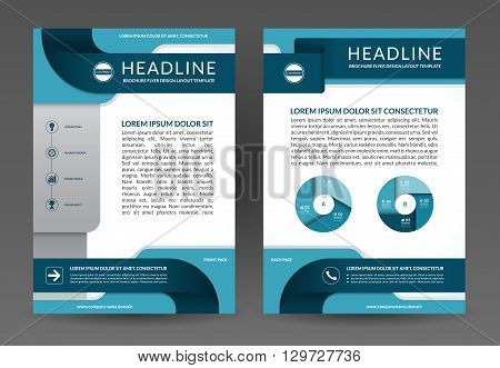 Vector brochure flyer annual report layout template. Front and back page. A4 size. Vector background with icons and infographic elements. Can be used for booklet, leaflet, magazine cover, catalog etc.