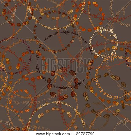 Seamless pattern background. Coffee beans circles and coffee calligraphy circles. Espresso, cappuccino, americano calligraphy handwritten texture, fabric packaging, wrapping paper, menu, cafeteria.