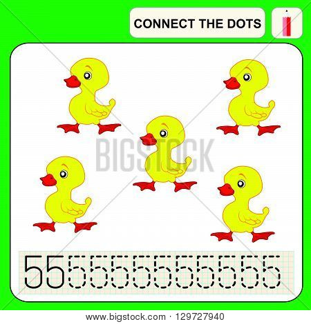 Connect the dots preschool exercise task for kids numbers. Duck.