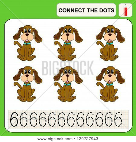 Connect the dots preschool exercise task for kids numbers. Dog.