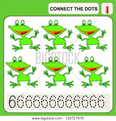 Connect the dots preschool exercise task for kids numbers. Frog.