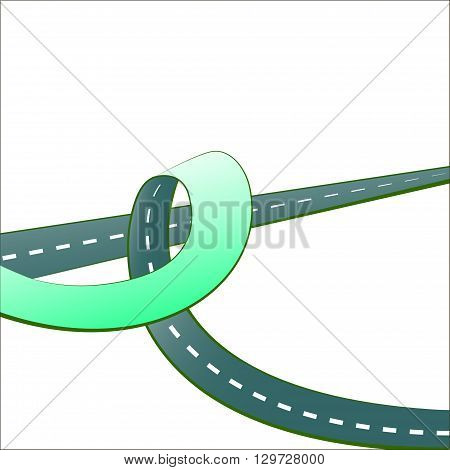 Curved green road with white background. Vector illustration. Road from multiple perspectives.