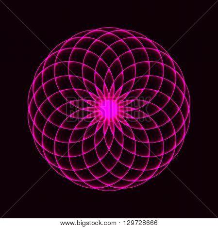 Monochrome elegant circular pattern. Circular mathematical ornament Mandala.