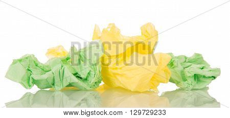 Crumpled colorful napkins isolated on white background