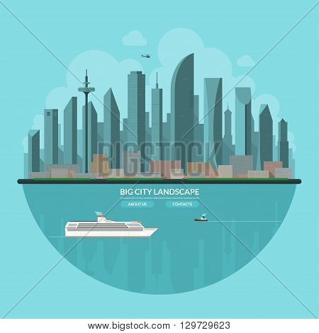 Modern city landscape. Urban landscape background. Cityscape. Skyline of an abstract big city. Skyscrapers towers buildings, embankment, bay, ship boat, helicopter. Flat vector illustration.