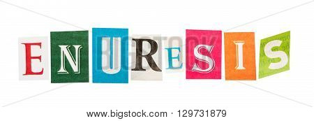 Caption enuresis colorful letters isolated on white background