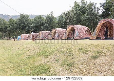 Tourist tent camping at Bang Krang Camp in Kaeng Krachan National Park Thailand
