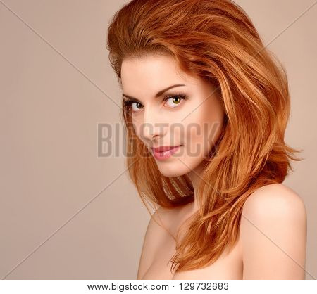 Beauty portrait nude redhead woman smiling , eyelashes, perfect skin, natural makeup, fashion. Gorgeous sensual attractive pretty  sexy model girl, shiny wavy hair.People face closeup, spa, copy space