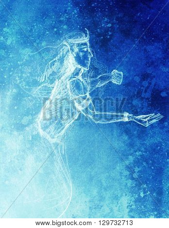 Drawing of elf King, pencil sketch on paper, blue vinter effect