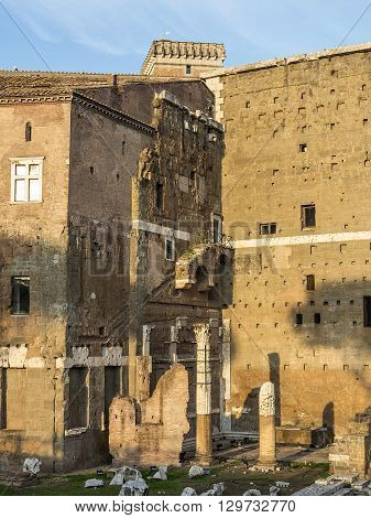 The ruins of Trajan's Market (Mercati di Traiano) in Rome. Italy