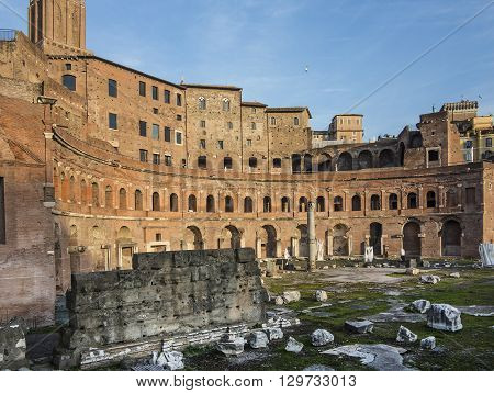 ROME ITALY - DEC 25 2015: The ruins of Trajan's Market (Mercati di Traiano) in Rome. Italy