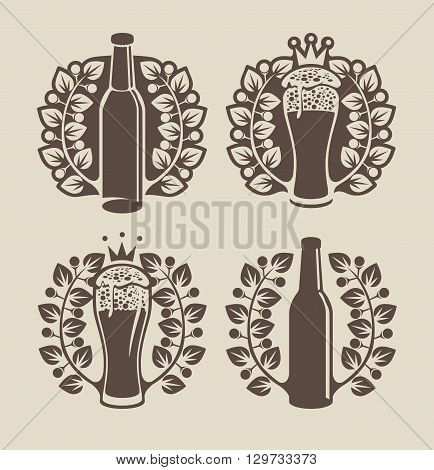 set banners on topic with beer glasses bottle and laurel wreath