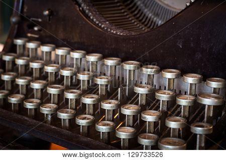 Close up old keyboard of vintage typewriter