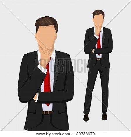 Business man. Businessman thinking. Full length portraits of businessman. Elegant businessman isolated on white background. Flat design.