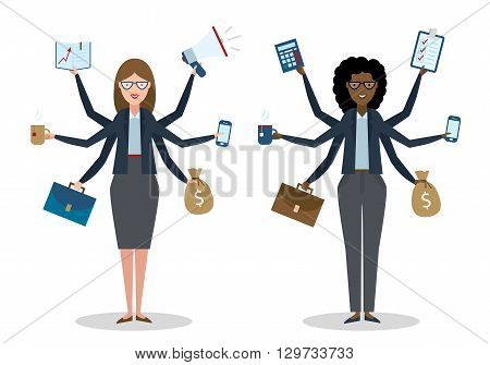 Multitasking six hands isolated businesswomen on white background. Successful businessman. Workaholic. Talented and professional. Leadership.