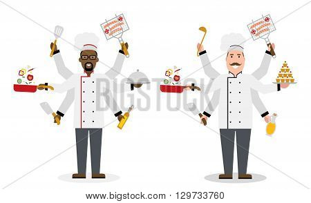 Multitasking isolated chefs with six hands on white background. Holding a meal, knife, paddle, pan with vegetabes, oil and barbeque. Successful cook. Restaurant chef.