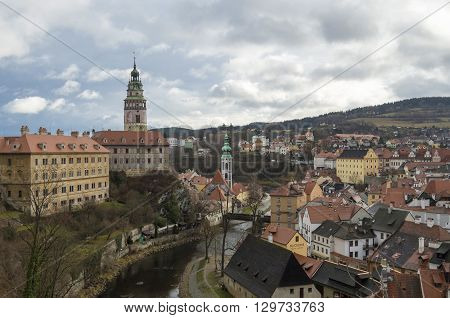 beautiful view of a small European town with red-tiled roofs of Cesky Krumlov