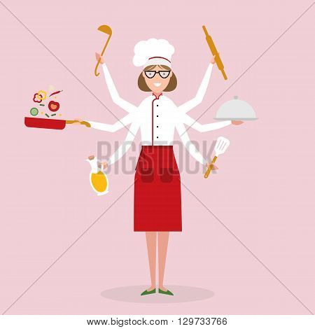 Multitasking female chef with six hands standing on pink background and holding a  cake, ladle, paddle, pan with vegetabes, oil and rolling pin. Successful cook. Restaurant chef.