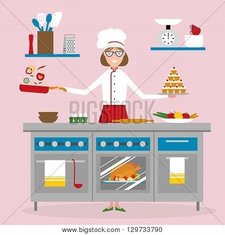 Female chef cooking on pink background. Restaurant worker frying vegetables and holding a cake. Chef uniform and hat. Table and cafe equipment.