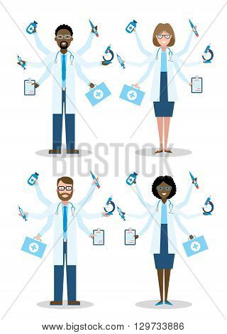 Multitaskig multicultural doctors on white background. Set of caucasian and african american doctors. Men and women. Medical treatment, fast diagnosis and emergency.