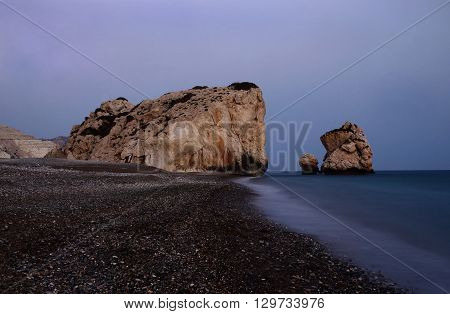 Night seascape of Aphrodite's Rocks beach bithplace of greek goddess of love, Paphos, Western Cyprus (Petra tou Romiou),popular landmark
