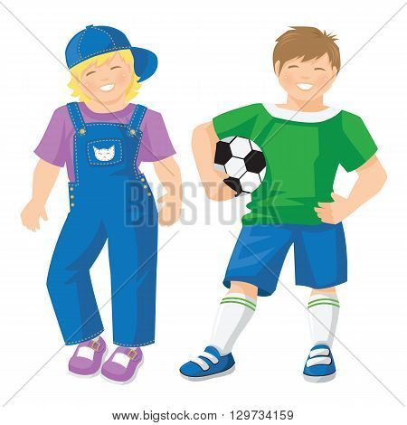 Vector illustration of kid in sport wear with ball isolated on white background. Cute little girls in jeans with lavender color shirt and shoes