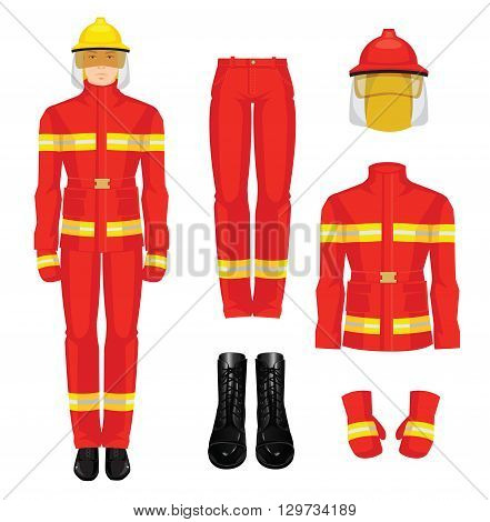 Vector illustration of firefighter in uniform isolated on white background. Protection clothes for firefighter