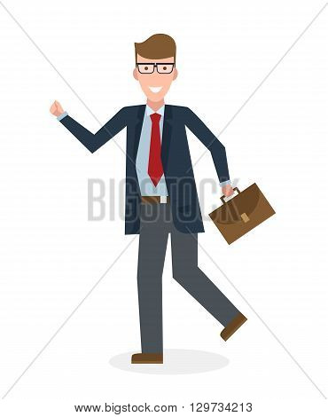 Businessan running on white background. Isolated cartoon character. Caucasian businessman with suit case. Successful achievement. Active work. Fast lifestyle.