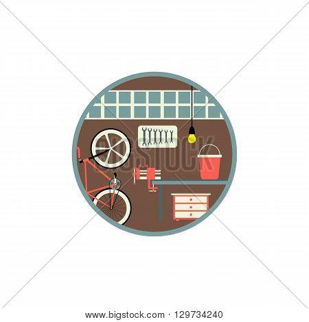 Garage interior flat design vector illustration icon