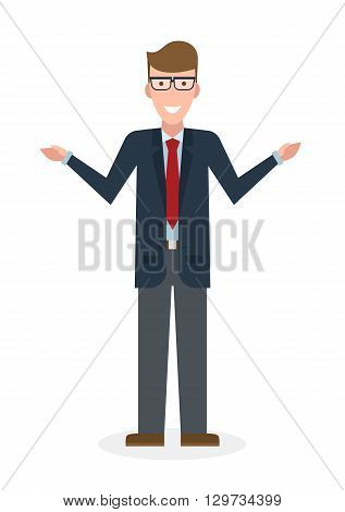 Businessman pointing on white background. Isolated caharacter. Instructor and adviser.