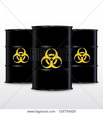 Black Barrel With Yellow Biohazard Symbol Isolated On White Background