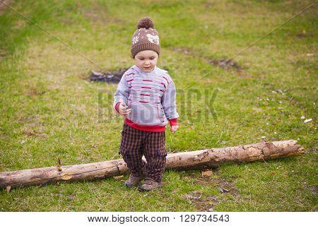 Little Boy Playing Near The Logs.