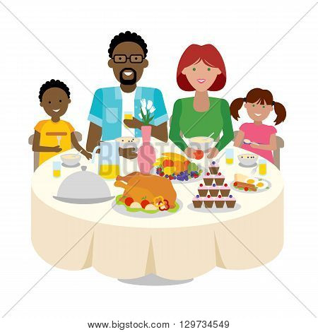 Happy multicultural family dinner table. Thanksgiving celebration. Cake and turkey. Holiday togetherness.