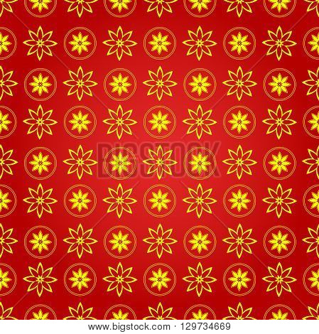 Chinese new year background, vector seamless pattern abstract pattern with beautiful sakura flowers on a red backdrop