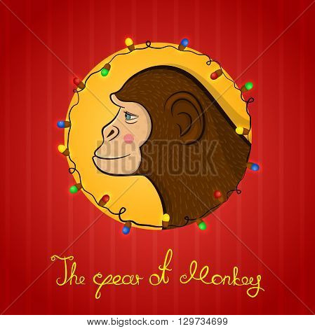 Bright colorful holiday card with a new year with a monkey cartoon character face in profile in the round frame, Christmas lights and calligraphy inscription congratulation on a red background